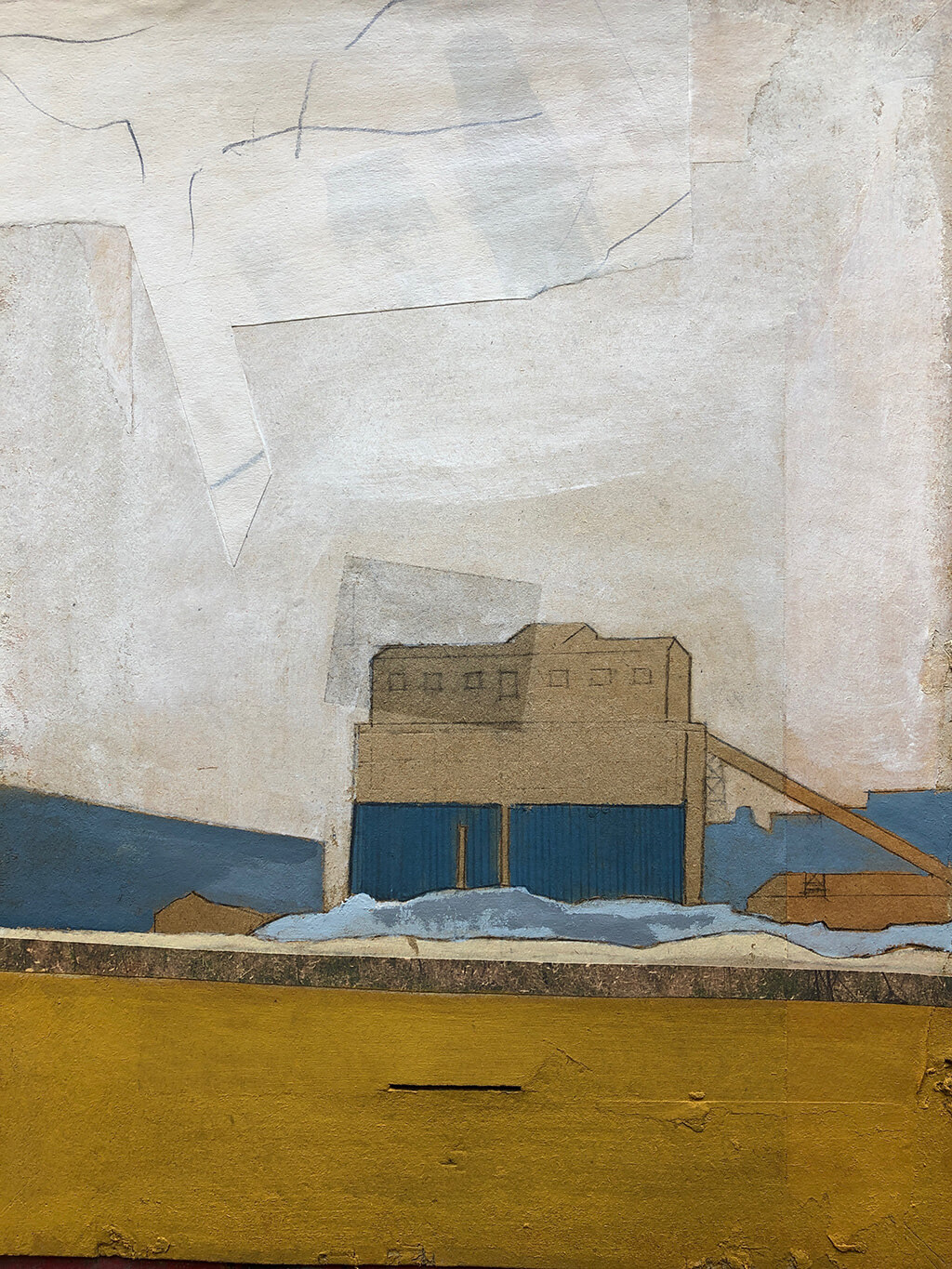 Silo, Mixed media on cardboard